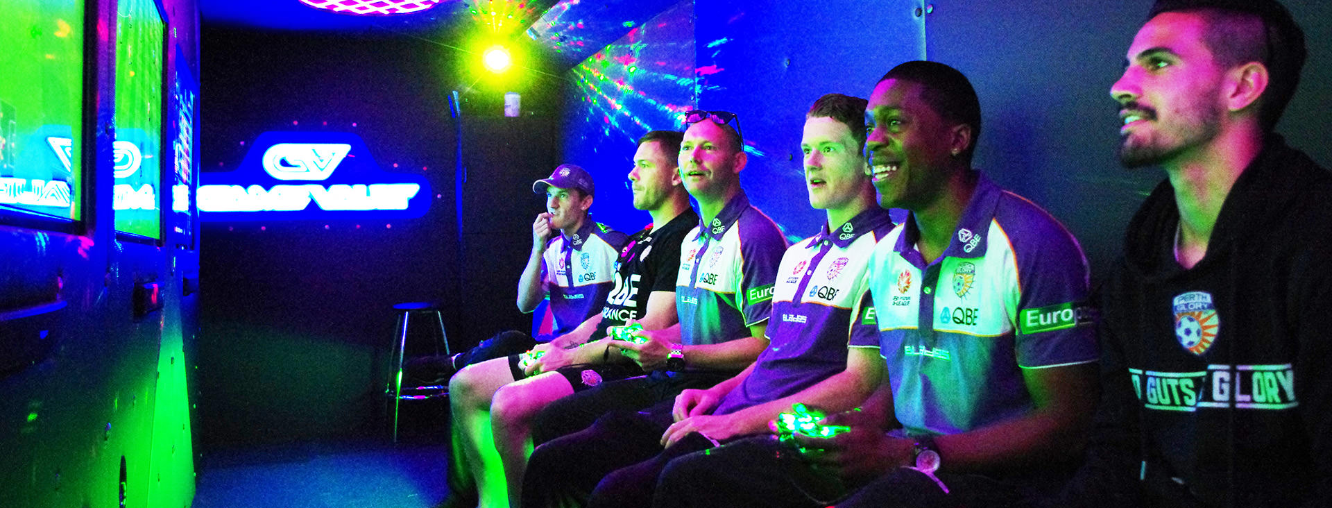 Perth Glory Players Enjoying Time Out From Training Thanks to Game Vault