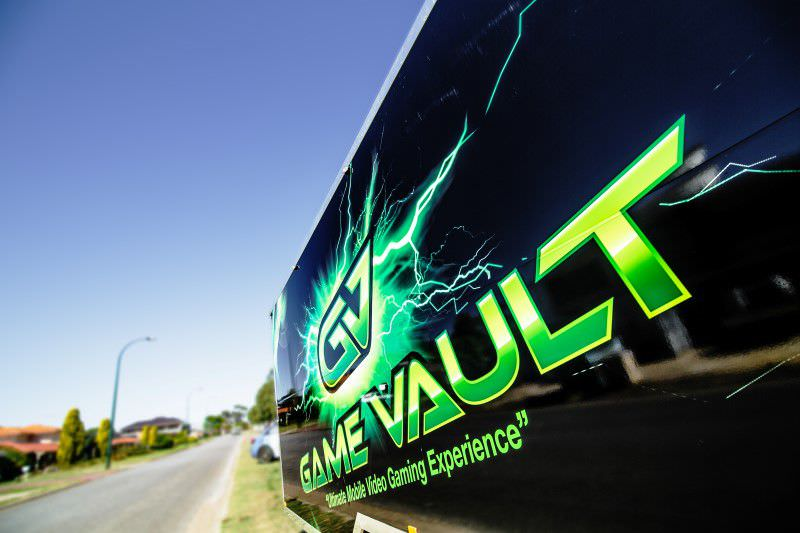 Game Vault Perth logo on our truck