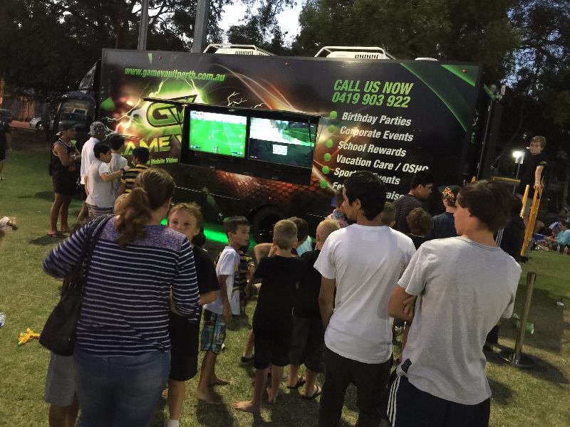 Game Vault - players lining up to enter one of our trucks